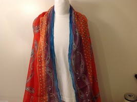 Vibrant Multi-Colored Patterned Rectangle Scarf, new!