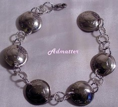 Dime Charm Bracelet Choose Birthday Anniversary Year 50 40 30 25 3 D Domed Coins! - $28.91+