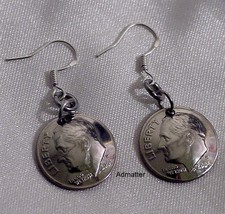 2001 14th Birthday Domed Dime Earrings 925 Silver French Hooks Anniversary Gift! - $9.00
