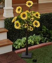 Solar Power Sunflower Tree Stand 48 Lights Outdoor Lawn Garden Patio Por... - $52.44