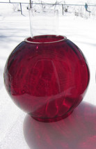 Vintage GWTW/Banquet Oil Lamp Globe Red Swirl O... - $164.83