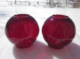 GWTW/Banquet Oil LampGlobe Red Swirl Optic  Oil Lamp Shades with chimneys - $350.00