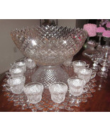 RARE 15 piece Westmoreland English Hobnail 3 gal Punch Bowl/Stand/Platte... - $588.06