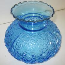 Large Vintage Blue Daisy & Button Thumbprint Glass Hurricane Oil Lamp Shade - $115.82
