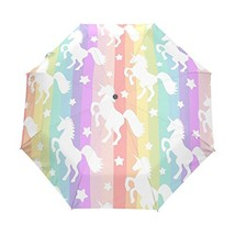WOZO Cute Unicorn Rainbow Stripe 3 Folds Auto Open Close Umbrella - $41.34