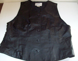 Jacqueline Ferrar S Black Leather Vest Polyester Back V-neck Button Fron... - $11.29