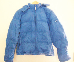 Girl's Aeropostale Light Blue Lined Down Filled Coat w/ detachable Hood ... - $27.69