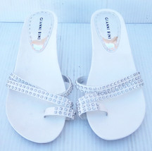 "Women's Gianni Bini ""Scarlet"" White Leather Kitten Heel Slides -- Size 9... - $7.69"