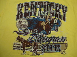 "Kentucky Vacation Souvenir ""the Bluegrass State"" Horse Race Yellow T Shirt M - $15.10"