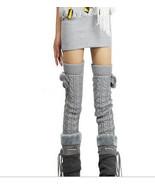 Women's Girl's Leg Warmers Knit Leggings Dance Wear Thigh High Socks Pom... - $7.69+