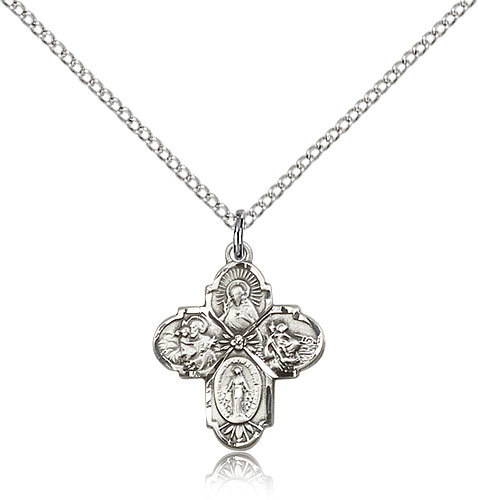 Sterling Silver 4-Way Cross Pendant-18 Inch Necklace For Women 5449SS/18SS