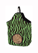 lime green Zebra Print Heavy Denier Nylon Feed Horse Hay Bag Tote Stall ... - $13.55