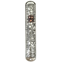 Judaica Mezuzah Case Nickel Plated Jerusalem Sites Copper SHIN 12 cm