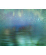 Northern Lights  Fine Art Photograph 24 x 30 Giclee Museum Fibre Aqua Green Blue - $150.00