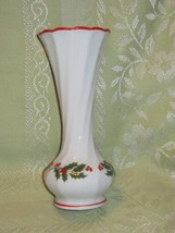 Vintage Japan Christmas Hollly Berry Ceramic Bud Vase Made in Japan - $15.00