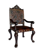 Fabulous Old World  Carved  Leather Chair,48''H. - $890.01