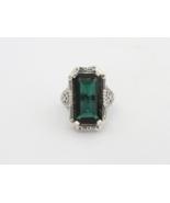 Vintage Sterling Silver Emerald Filigree Ring Size 5.75 - $60.00