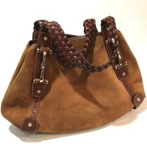 AUTHENTIC GUCCI Horse-Bit Tote Bag Brown Suede x Leather 137621 - $310.00