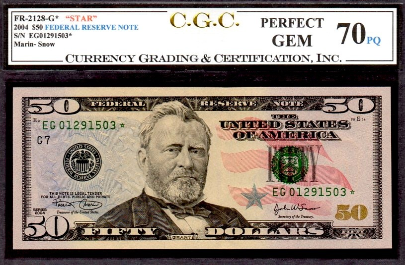 "US FR 2128G 2004 STAR $50 FEDERAL RESERVE CGC 70PQ ""PERF GEM"" FINEST KNOWN CGC"