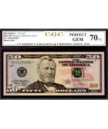 "US FR 2128G 2004 STAR $50 FEDERAL RESERVE CGC 70PQ ""PERF GEM"" FINEST KNO... - $495.00"