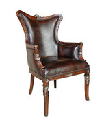 Fabulous Italian Carved  Leather Club Chair,44''H. - $1,137.51