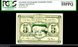 "GREENLAND ""POLAR BEAR NOTE"" 5 KRONER 1953 PCGS 55PPQ VERY RARE! - $1,395.00"