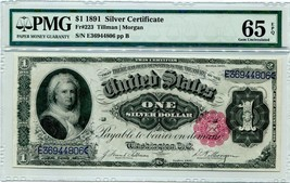 "US FR 223 ""MARTHA WASHINGTON"" $1 SILVER CERTIFICATE 1891 GRADED PMG 65EPQ! - $3,500.00"