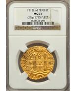 PERU 1712 GOLD 8 ESCUDOS DOUBLOON COIN NGC 63 FIN KN! 1715 PLATE FLEET S... - $45,000.00