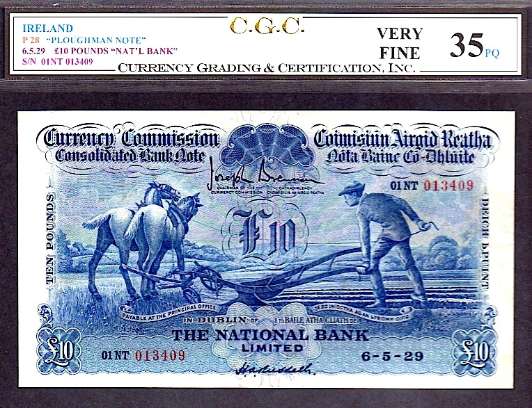 "Primary image for IRELAND P28 ""PLOUGHMAN NOTE"" 6.5.29 10 POUNDS ""NAT'L BANK"" CGC 35PQ FINEST OF 2!"
