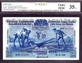 """Ireland P28 """"Ploughman Note"""" 6.5.29 10 Pounds """"Nat'l Bank"""" Cgc 35 Pq Finest Of 2! - $14,950.00"""