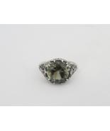 Vintage Sterling Silver Green Tourmaline Filigree Ring Size 6 - $55.00