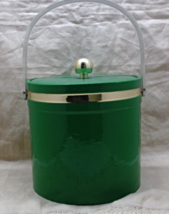 Vintage Mid Century Green Vinyl Covered Ice Bucket // Barware  - $12.00