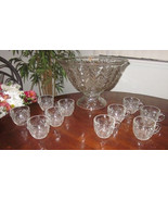 Jeannette Glass Co Feather Pattern, Clear Punch Bowl stand set - $200.00