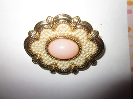 Vintage faux pearl and pink opal stone brooch jewelry pin - $25.00
