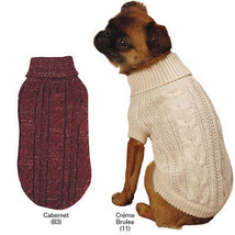Lurex Cable Knit Dog Turtleneck Sweater Pet Apparel Cabernet Creme - $15.99+