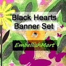 Shop Banner Web Set Header Avatar Hearts Flowers Butterflies Pink Black ... - $18.00