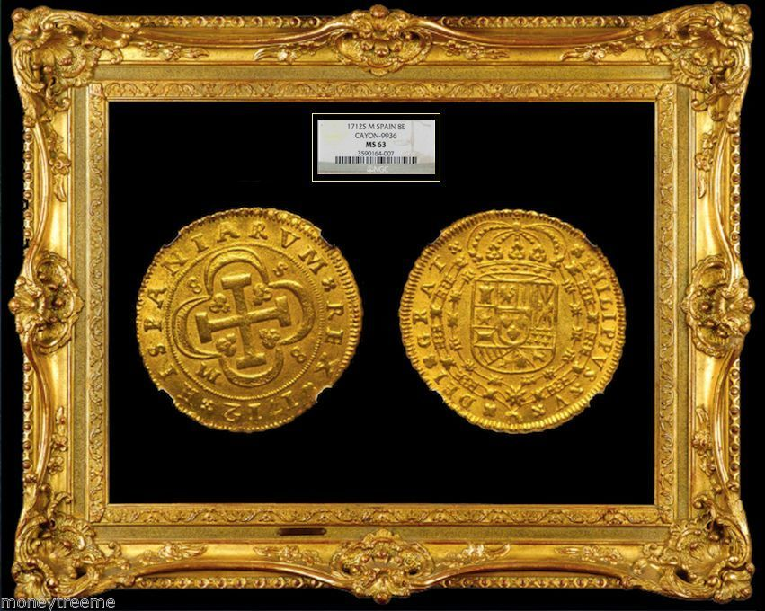 """SPAIN 1712 GOLD 8 ESCUDOS """"FINEST KNOWN OF 2 GRADED"""" NGC 63 COB DOUBLOON COIN"""
