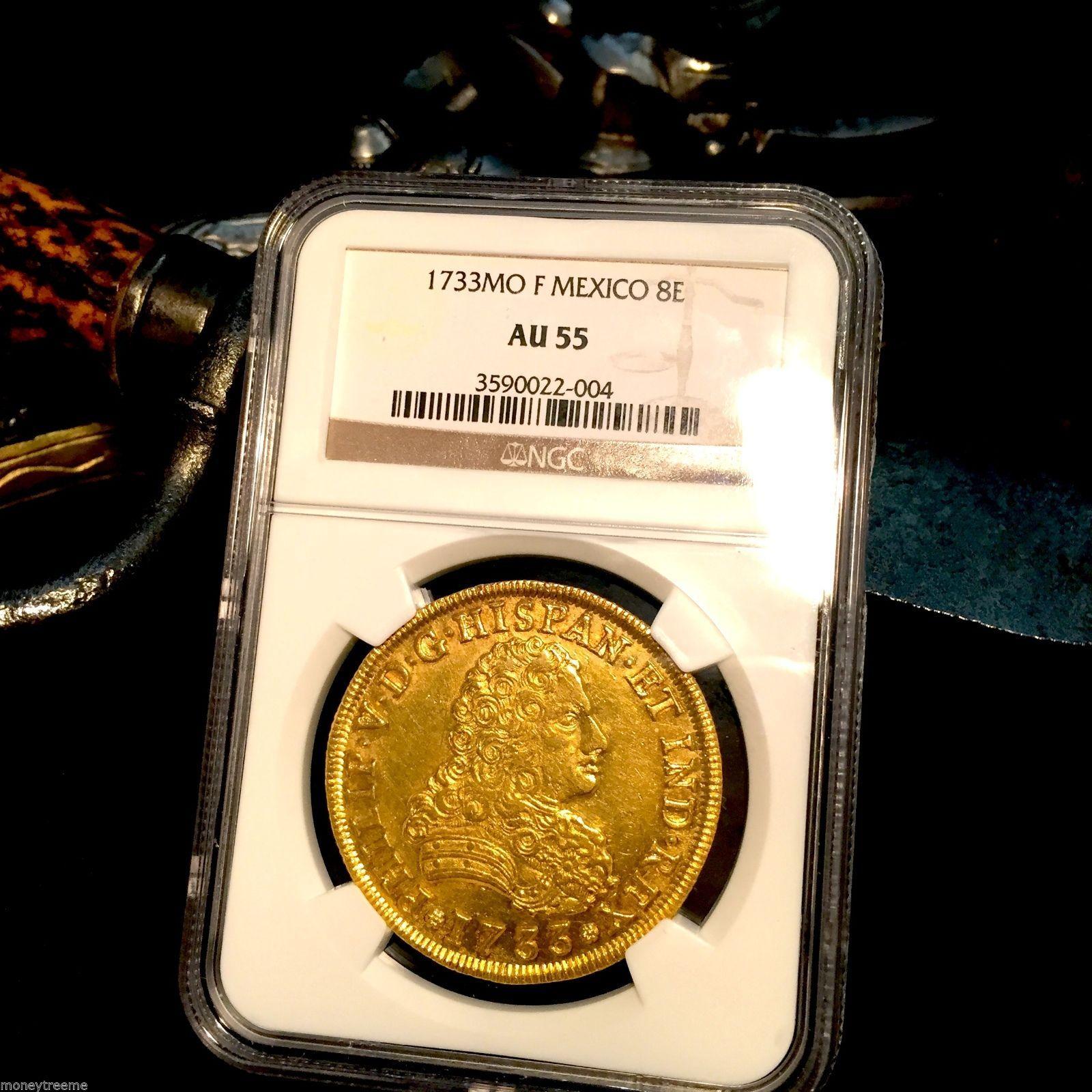 """MEXICO 1733 FLEET SHIPWRECK 8 ESCUDOS NGC 55 """"RARE-Only 13!"""" GOLD DOUBLOON COIN"""