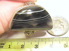 STERLING 925 RING 10 AGATE real ESTATE BLACK WHITE silver OLD NATURAL BO... - $51.25