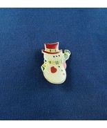 Vintage Christmas Snowman with Green Broom Metal Pin Free Shipping - $9.05