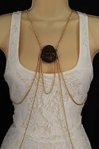 Women Gold Metal Body Chains Fashion Jewelry Harness Pool Necklace Buddh... - $19.58