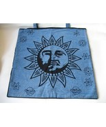 New large blue black shoulder Tote Bag Sun  Face - $10.00