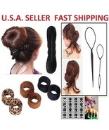 Topsy Tail Ponytail Braid Maker+Magic Hair Bun+French Hair Bun Styling T... - $10.99