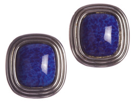 Christian Dior Square Faux Lapis Lazuli Murano Glass Earrings - $225.00