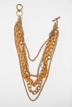 Kenneth Lane 14k Gold Plated Chain and Orange Plastic Multi Strand Neckl... - $250.00