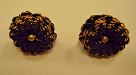 EARRINGS black and gold color material with faux pear in  middle SCREW BACK - $2.96