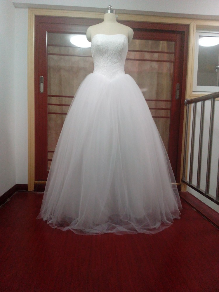 cheap ball gown wedding dresses strapless cheap corset lace up ivory tulle bridal 2568