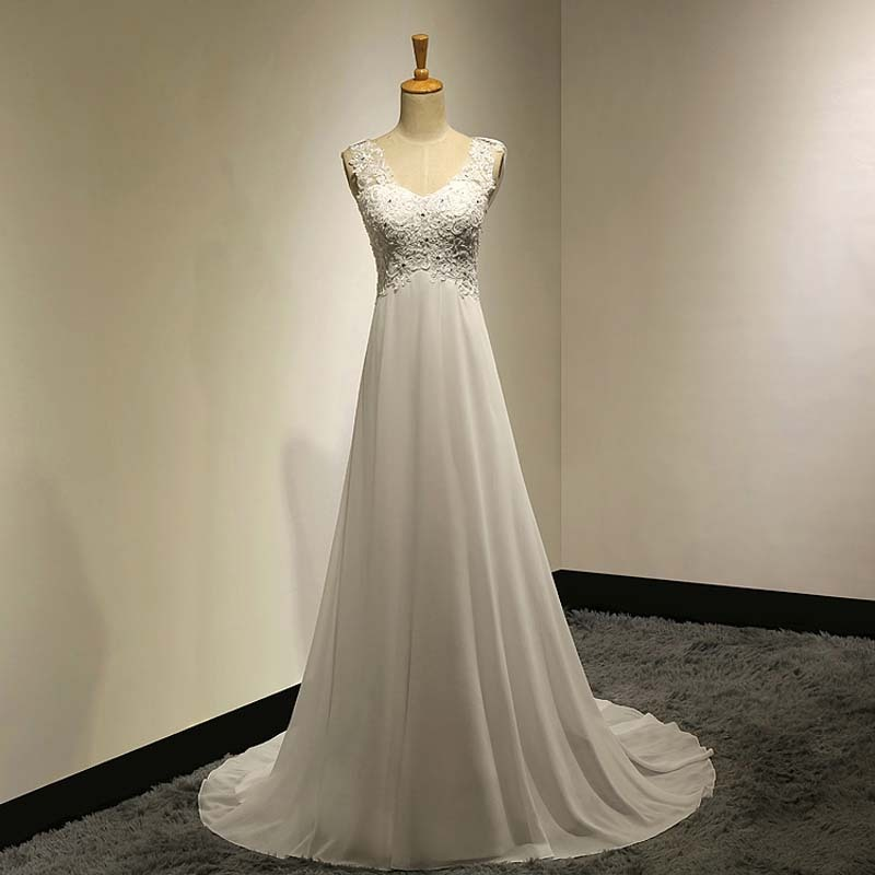 Unique boho plus back v neck empire long chiffon bridal for Cheap boho wedding dresses