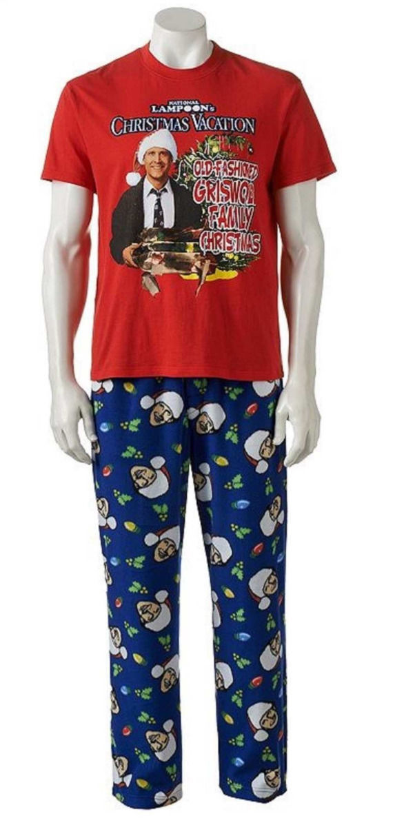 ... National Lampoon Christmas Vacation-Mens PAJAMA Chevy Chase Fleece PANTS-2Pc M ...