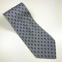 "Giorgio Armani Silver Blue & Black Geometric 100% Silk Tie 55"" Long X 3.5"" Wide - $14.62"